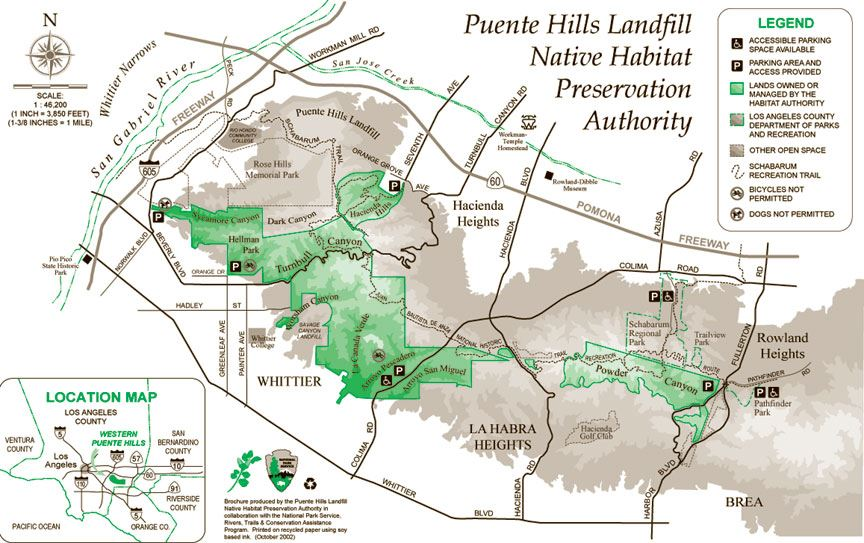 Puente Hills Landfill Native Habitat Preservation Authority Map