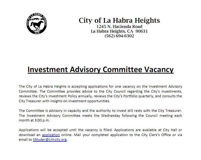 2017 Investment Advisory Committee Notice of Vacancy