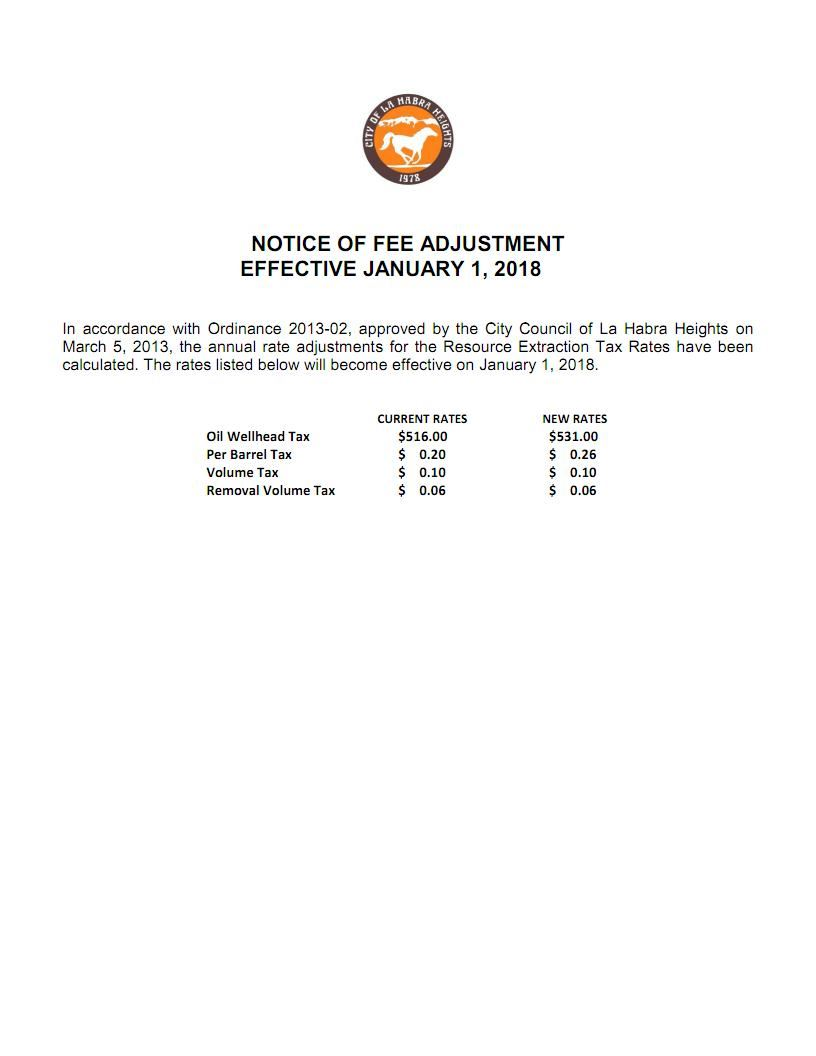 Notice of Fee Adjustment - 01/01/2018