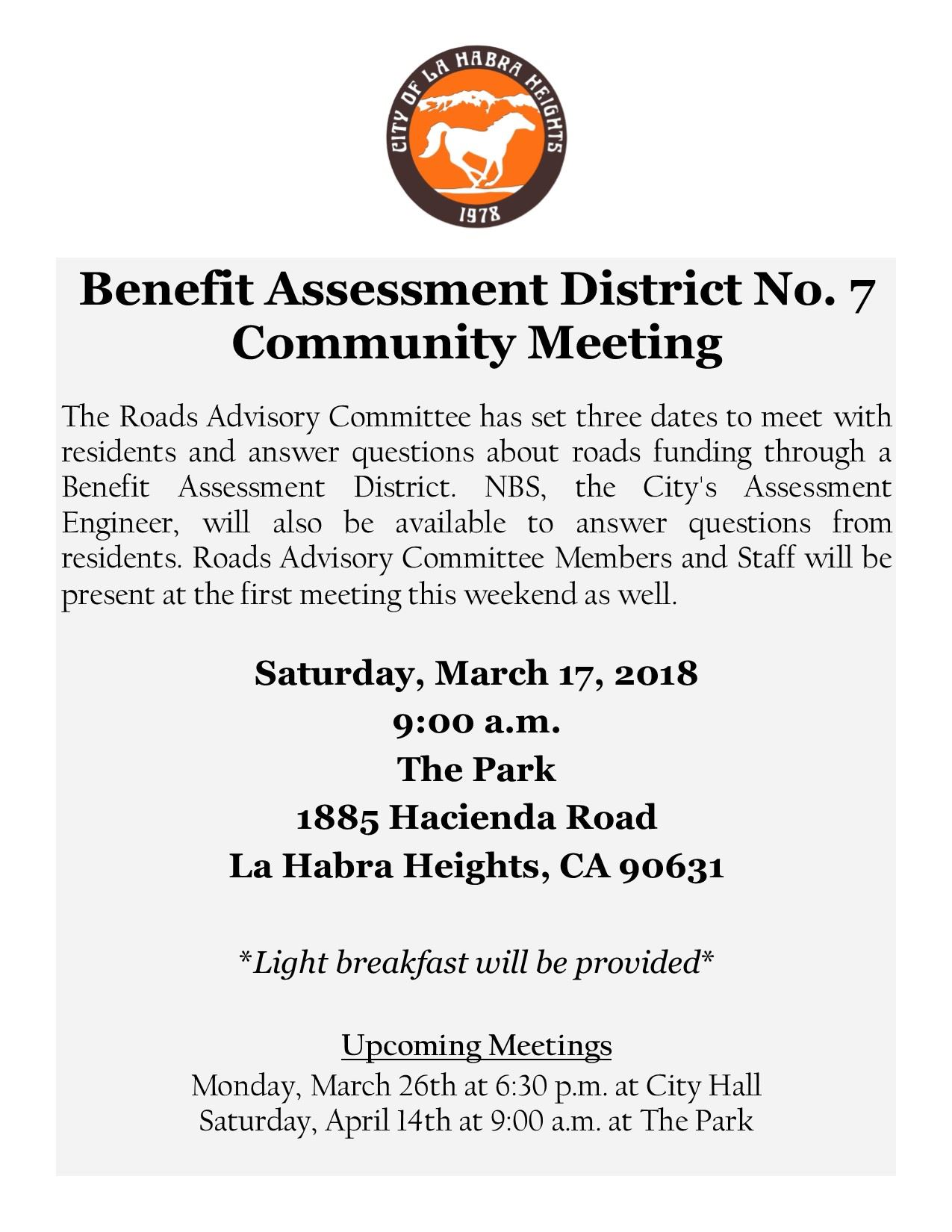Benefit Assessment District No. 7 Community Meeting Flyer