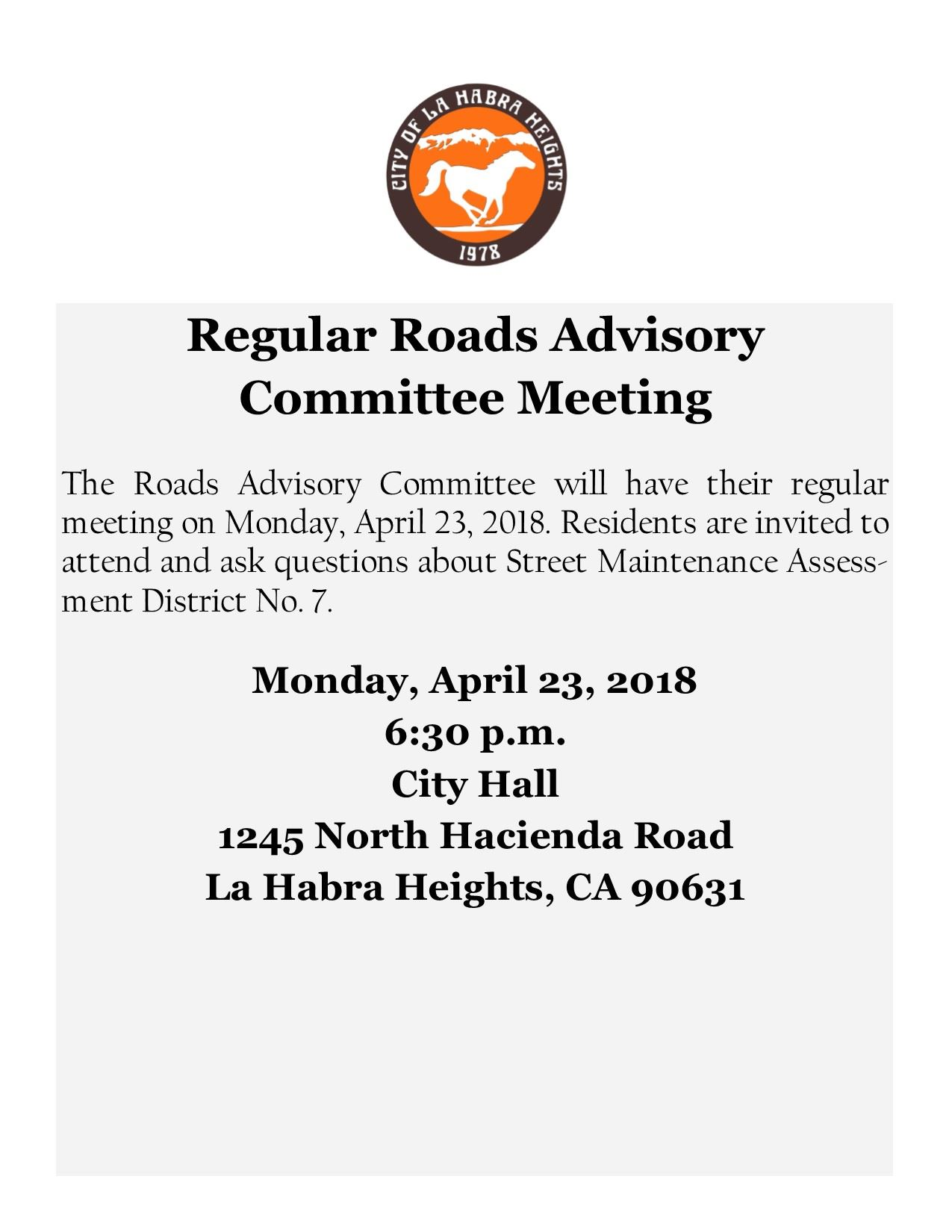 2018 04 23 Regular Roads Advisory Committee Meeting Flyer