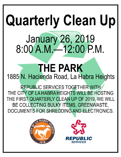 January 26, 2019 Clean Up