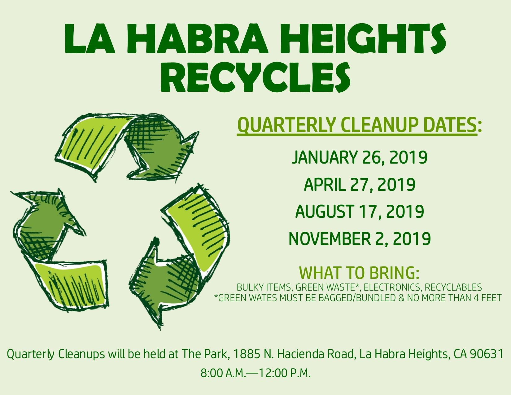 2019 Quarterly Clean Up Flyer