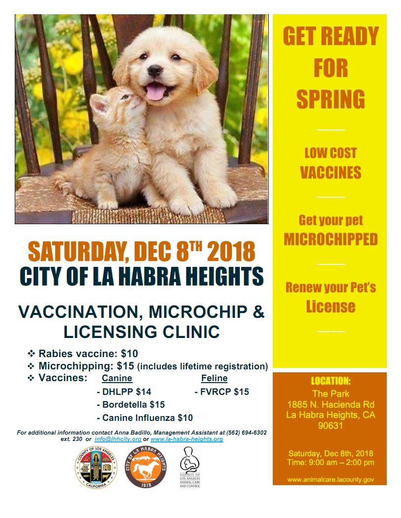 Dec. 8, 2019 Vaccination, Microchip and Licensing Clinic Flyer